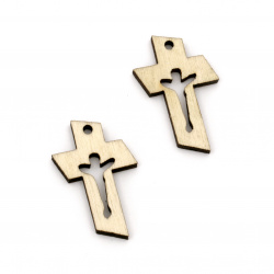Wooden Pendant  Cross 36x21x4 mm hole 2.5 mm color wood -10 pieces