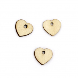 Καρδιά κρεμαστό ξύλο 15x16x2 mm τρύπα 2 mm χρώμα ξύλο -20 τεμάχια