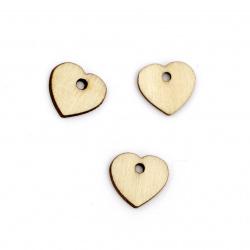 Wooden Pendant Heart 15x16x2 mm hole 2 mm color wood - 20 pieces