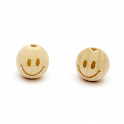 Natural Unfinished Wooden Round Face Beads, Doll Heads, Smile 19x20mm, Hole 4mm - 5 pieces
