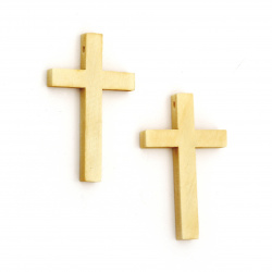 Wooden Pendant Cross 50x30x6 mm hole 2.5 mm color tree - 5 pieces