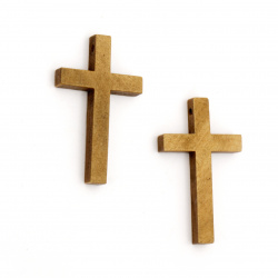 Wooden pendant in the shape of a cross 50x30x6 mm hole 2.5 mm brown color - 5 pieces