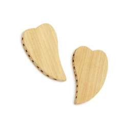Мънисто дърво за декорация сърце 56x36x6 мм девет дупки 2.5 мм цвят дърво -2 броя