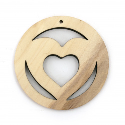 Wooden Pendant round heart 50x6 mm hole 2 mm color wood - 2 pieces