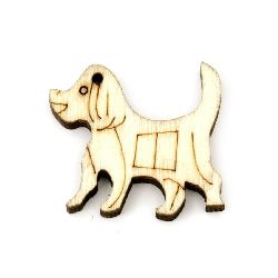 Pendant wooden dog 20x23x4 mm hole 1 mm color wood -10 pieces
