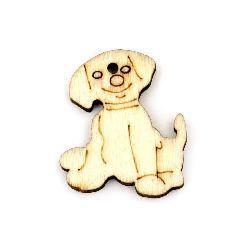 Σκυλί κρεμαστό ξύλο 26x22x3 mm τρύπα 1 mm χρώμα φυσικό -10 τεμάχια