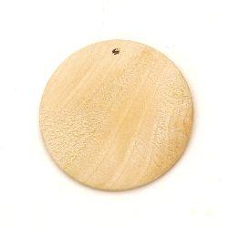 Висулка дърво кръг за декорация 50x5 мм дупка 3 мм цвят дърво -2 броя