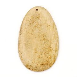 Wooden Pendant Oval  63x40x5 mm hole 3 mm color wood - 2 pcs.