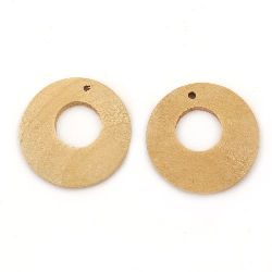 Wooden Pendant round 25x4 mm hole 2 mm color wood - 4 pieces