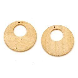 Lemn pandantiv rotund 40x5 mm gaura 2 mm lemn culoare -4 buc