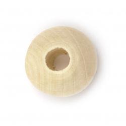 Мънисто дърво шайба 22x12.5 мм дупка 8 мм цвят дърво -5 броя
