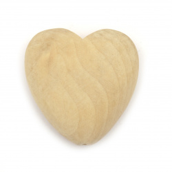 Natural unfinished wooden heart bead for DIY Jewelry and Crafts  50x48.5x18x5 mm hole 4 mm color wood