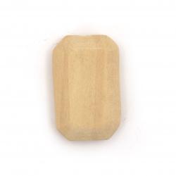 Мънисто дърво правоъгълник 31x19x9 мм дупка 4 мм цвят дърво -4 броя