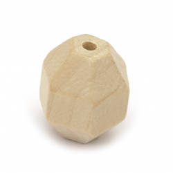 Natural unfinished wooden oval bead for DIY Jewelry and Crafts  25x24 mm hole 3.5 mm faceted, color wood - 4 pieces