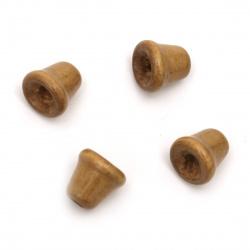 Мънисто дърво камбанка 13x13 мм дупка 4.5 мм цвят кафяв -20 грама ~33 броя