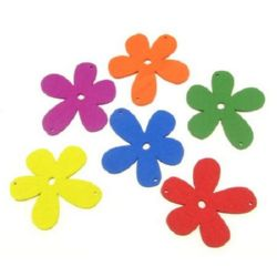Colorful wooden pendant flower with two holes 60x57x2.5 mm hole 2 mm MIX - 10 pieces