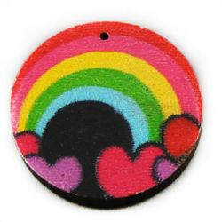 Wooden round pendant 25x4 mm hole 2 mm rainbow - 10 pieces