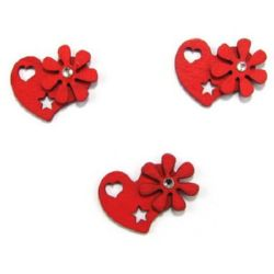 Wooden pendant heart with flower and crystal 26x30x2 mm red - 4 pieces