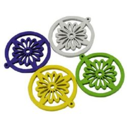 Wooden Pendant, Flower-Ring, Assorted colors 25x2 mm, hole 2 mm - 10 pieces