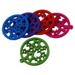 Висулка дървена кръг 25x2 мм дупка 2 мм звезди цветна -10 броя