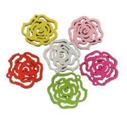 Висулка дървена роза 22x25x2 мм дупка 1 мм цветна -10 броя