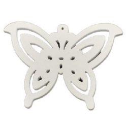 Pandantiv fluture din lemn 58x43x3 mm gaură 1 mm alb -10 bucăți