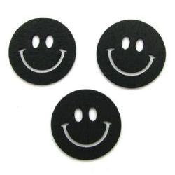Wooden pendant smile 40x40x2 mm black - 10 pieces