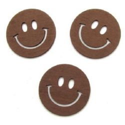 Wooden pendant smile 40x40x2 mm brown - 10 pieces
