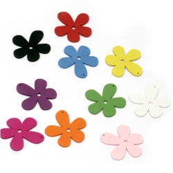Colorful wooden pendant flower 58x56x2.5 mm hole 1.5 mm MIX - 10 pieces
