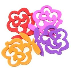 Openwork Wooden Pendant, Rose, Dyed, Assorted colors 45x50x2.5 mm - 10 pieces
