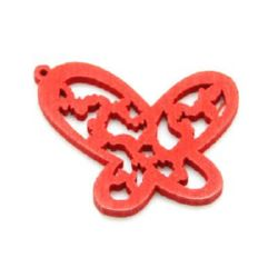 Openwork Wooden Pendant, Butterfly, Dyed, Red  27x25 mm, hole 1 mm - 10 pieces