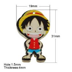 Painted wooden boy  pendant 31x19x4 mm hole 1.5 mm -10 pieces