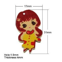 Painted wooden girl pendant 31x17x4 mm hole 1.5 mm - 10 pieces