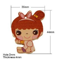 Painted wooden girl pendant 44x35x4 mm hole 1.5 mm - 10 pieces