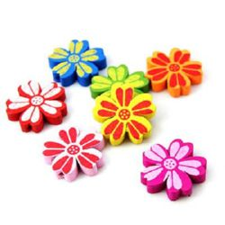 Natural Wooden Beads, Flower, Dyed, Assorted colors 21x4.5 mm, hole 2 mm - 10 pieces