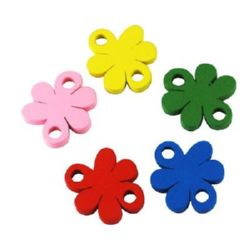 Natural wooden flower bead 26x22x4 mm with two holes 4 mm Assorted colors - 20 pieces