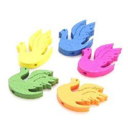 Figurine lebada din lemn 25x16x4,5 mm gaură 2 mm vopsite colorate -10 bucăți