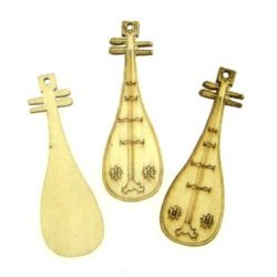 Woode Pendant Fiddle 49x16x2.5 mm hole 2 mm - 10 pieces