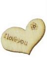 Сърце дървено 22x15x2 мм -10 броя