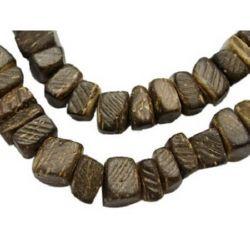 Наниз мъниста кокос 6~7x2~5 мм дупка 1 мм кафяв ~105 броя