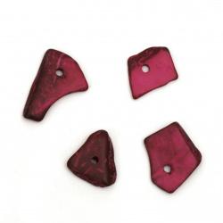 Мънисто кокос 14±21x9±15x2±5.5 мм дупка 1.5 мм цвят цикламен - 20 грама