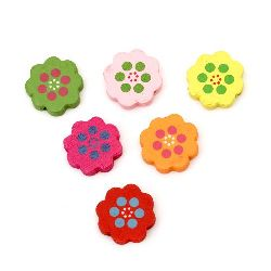 Natural Wooden Beads, Flower, Dyed, Assorted colors 24x22x5 mm, hole 2 mm - 10 pieces