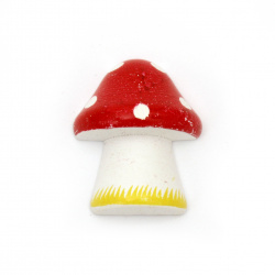 Wooden Ornament mushroom cabochon type 28x23x11 mm - 5 pieces