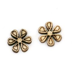 Wooden Embellishment flower without hole 10x3 mm - 20 pieces