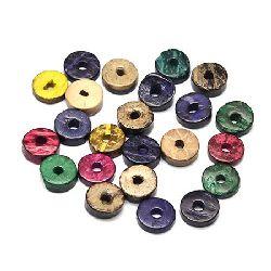 Шайба кокос 12±13x2±5 мм дупка 3 мм цвят микс -20 грама ±30 броя