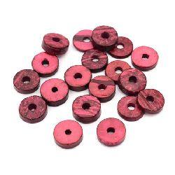 Шайба кокос 12x4 мм дупка 3 мм червена -20 грама ~60 броя