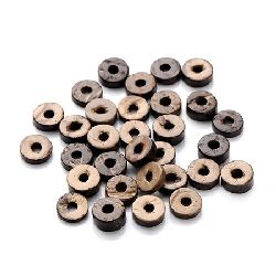Шайба кокос 9x4 мм дупка 3 мм кафява -20 грама ~86 броя