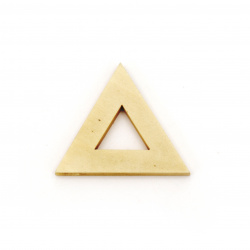 Wooden Pendant triangle for decoration  32x37x4 mm hole 2 mm color wood - 5 pieces