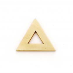 Pandantiv din lemn triunghi pentru decor 32x37x4 mm gaura 2 mm culoare lemn - 5 buc