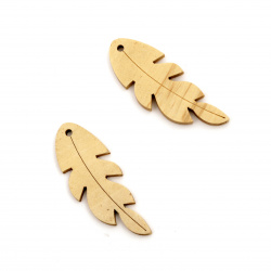 Wooden Pendant leaf for decoration 50x20x4 mm hole 2 mm color wood - 5 pieces